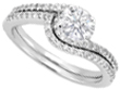 Round Diamond Pavé Set Knife Edge Engagement Ring Setting and Matching Wedding Band