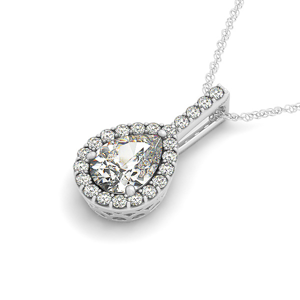 Filigree Pear Halo Diamond Pendant 0.65ct