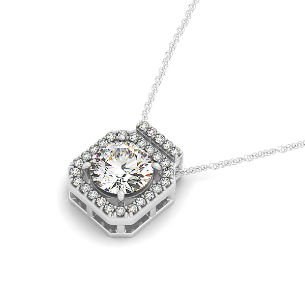 Octagon Halo Diamond Pendant 0.36ct