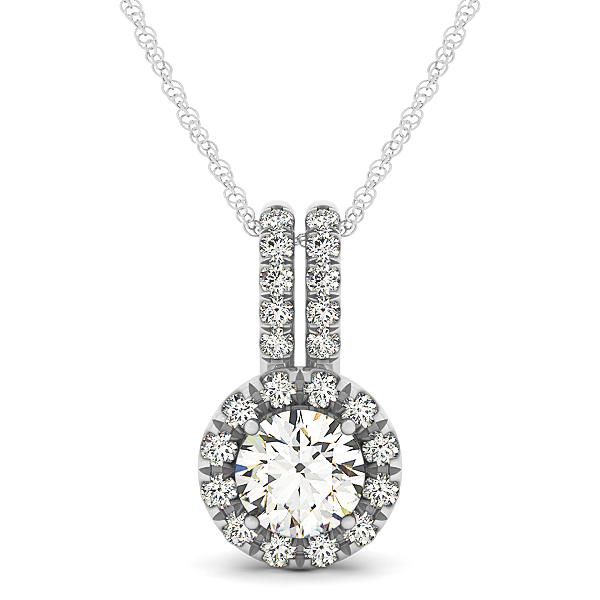Crown Halo Diamond Pendant 1.01ct
