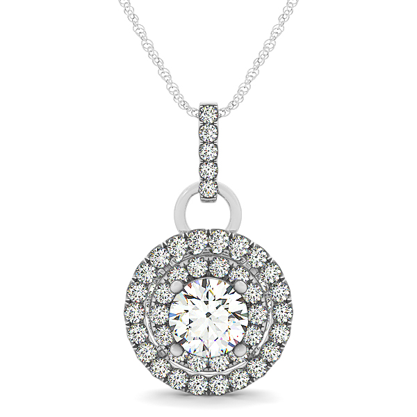Crown Double Halo Diamond Pendant 1.06ct