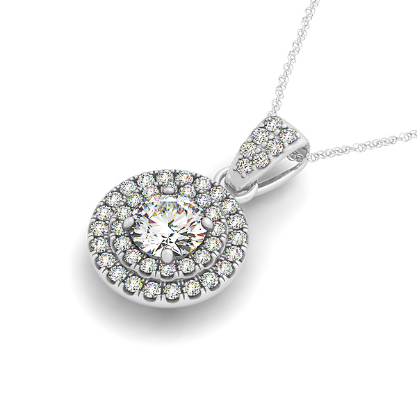 Double Halo Diamond Pendant 0.49ct