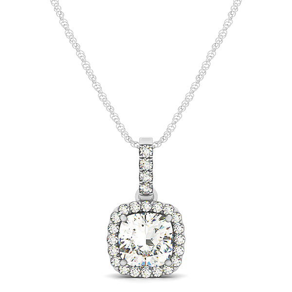 Cushion Halo Diamond Pendant 0.91ct