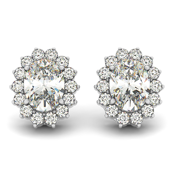 Oval Floral Halo Earrings 1.1 ct