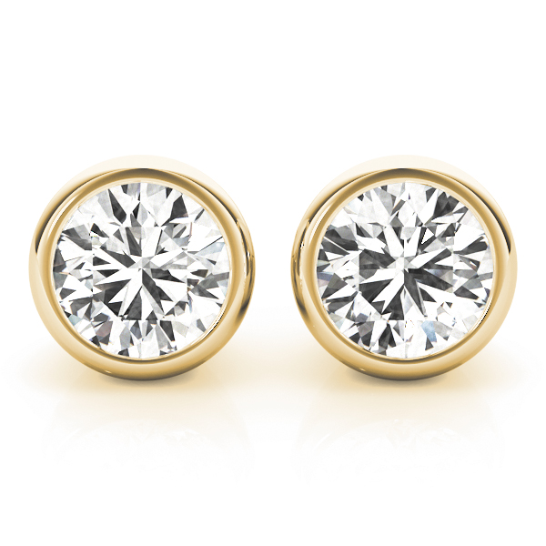 Round Bezel Earrings 0.5 Ct. Yellow Gold