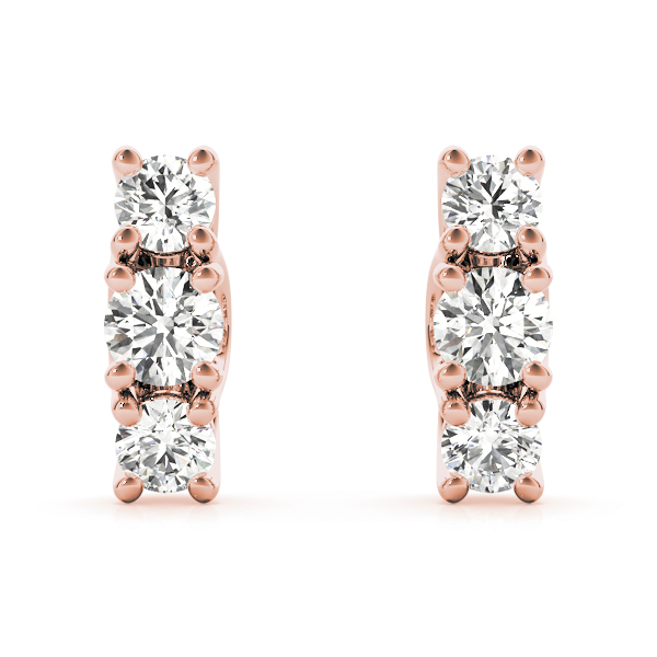 Three Stone Diamond Trellis Rose Gold