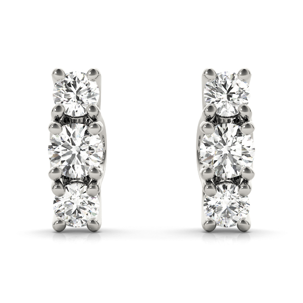 3 Stone Diamond Trellis Earrings
