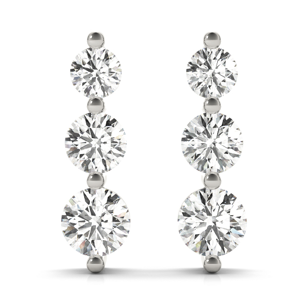 3 Diamond Journey Earrings Platinum