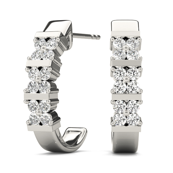 Flower Diamond Hoop Earrings .24