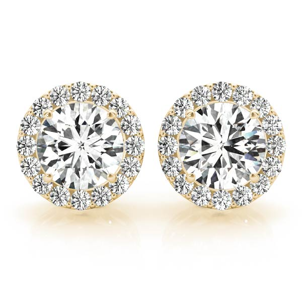 Diamond Filigree Halo Earring Yellow Gold 1.24 ct.
