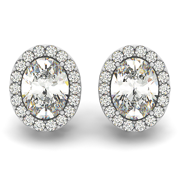 Filigree Oval Halo Earring 0.71 ct.