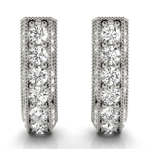 Vintage Style Diamond Hoop Earrings