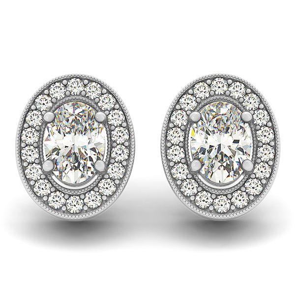 Oval Halo Filigree Earring 0.78 ct.