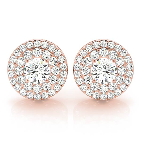 Double Halo Diamond Earring Rose Gold 1.92 ct.