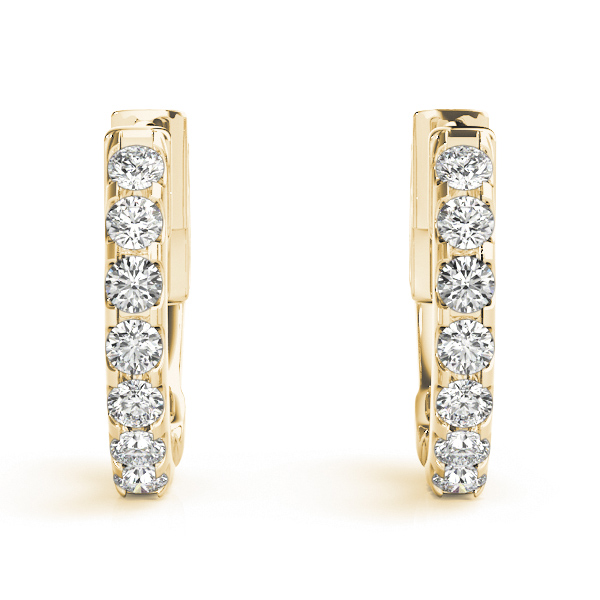 Diamond Hoop Earrings in Yellow Gold, 1/2