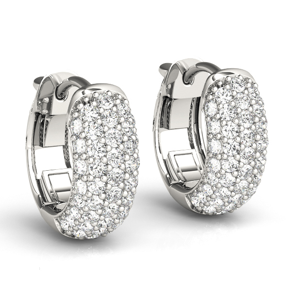 Five Row Dome Etoil Pave Diamond Hoop Huggie Earrings, 1/2