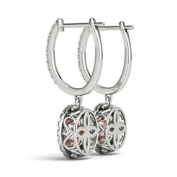 Double Halo Filigree Diamond Earrings Rose Gold