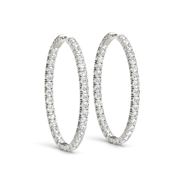 Oval Shaped Inside Outside Diamond Hoop Earrings, Core Lock, 1.75