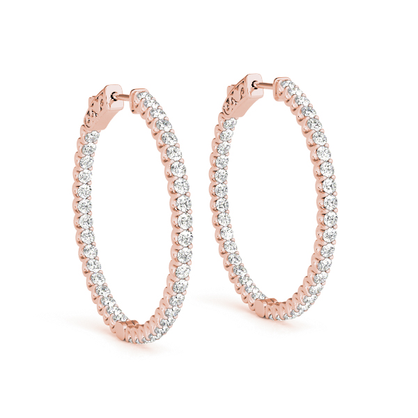 Inside Outside Diamond Hoop Earrings, Core Lock, in Rose Gold 1.2