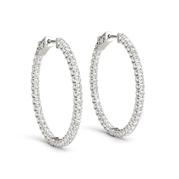 Inside Outside Diamond Hoop Earrings, Core Lock, 1.2