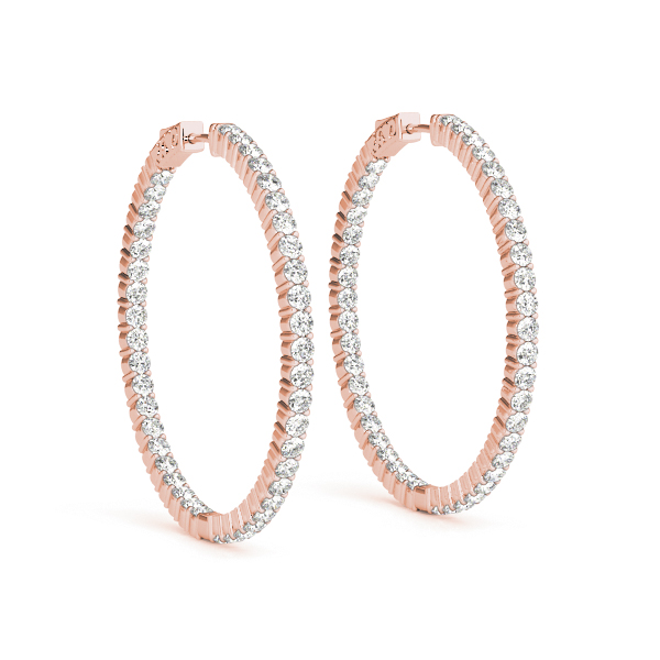 Inside Outside Diamond Hoop Earrings, Core Lock, in Rose Gold 1.5