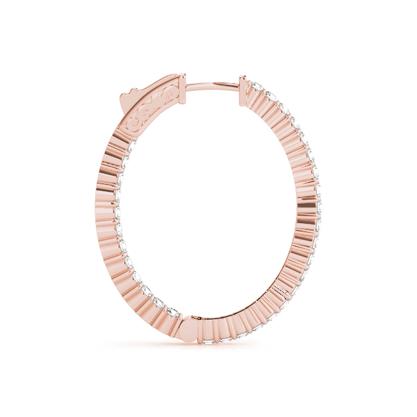 Oval Inside Outside Diamond Hoop Earrings, Core Lock in Rose Gold, 1.25