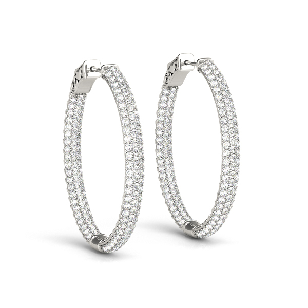Oval Etoil Inside Outside Diamond Hoop Earrings, Core Lock, 1.5