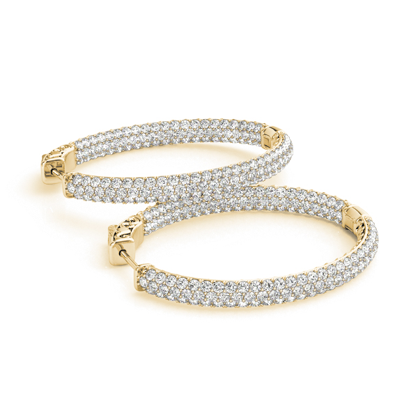 Oval Etoil Inside Outside Diamond Hoop Earrings, Core Lock, in Yellow Gold 1.5