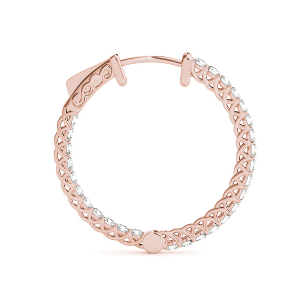 Trellis Inside Outside Diamond Hoop Earrings, Core Lock in Rose Gold, 1