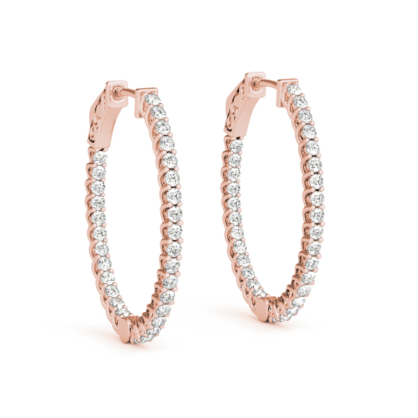 Oval Trellis Inside Outside Diamond Hoope Earrings, Core Lock in Rose Gold, 1