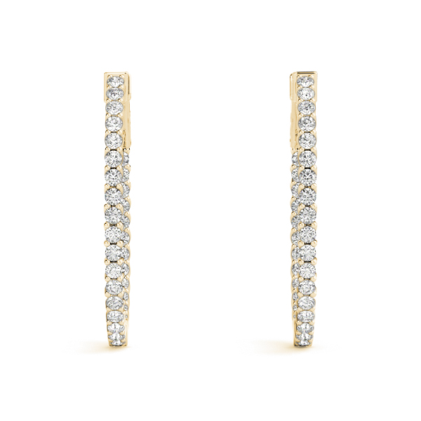 Oval Trellis Inside Outside Diamond Hoope Earrings, Core Lock in Yellow Gold, 1