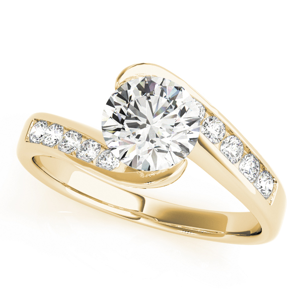 Swirl Semi Bezel Diamond Bridge Engagement Ring Yellow Gold