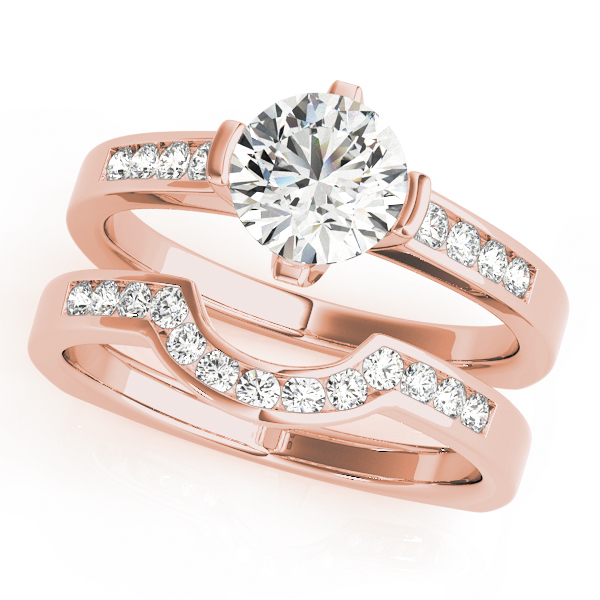 Diamond Channel Set Bridal Set with Square Band in Rose Gold