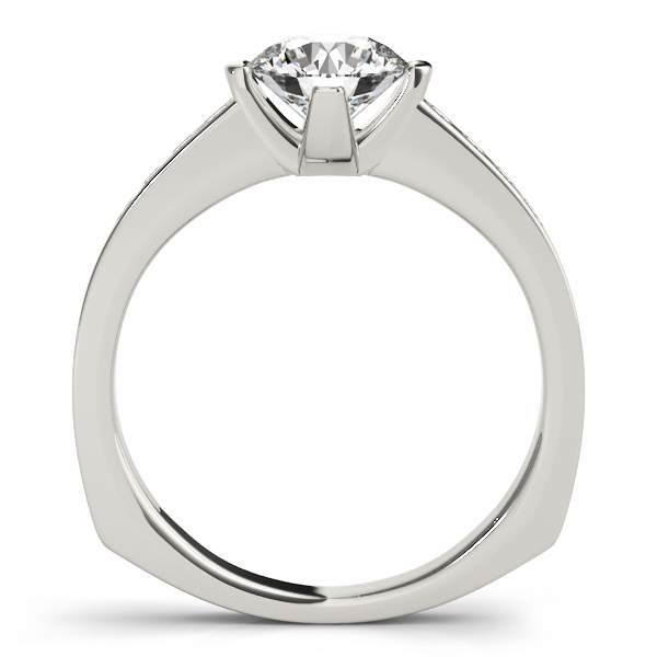 Diamond Channel Set Engagement Ring with Square Band