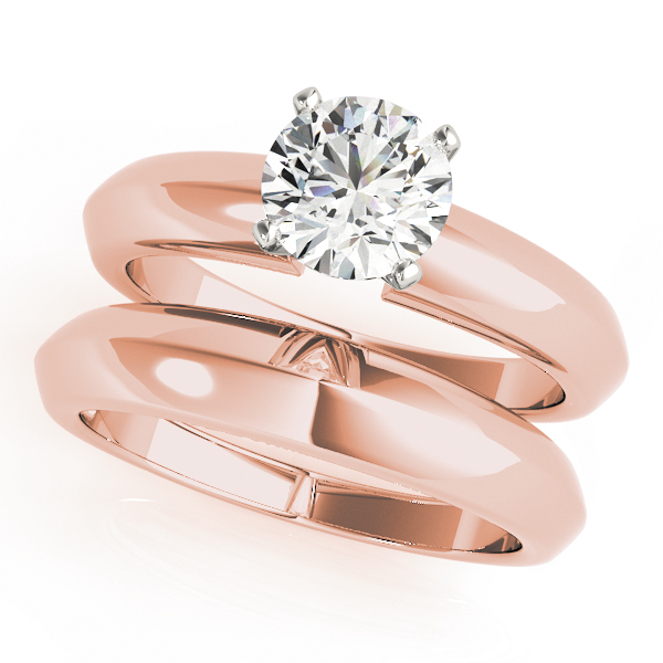 Classic Knife Edge Solitaire Bridal Set in Rose Gold