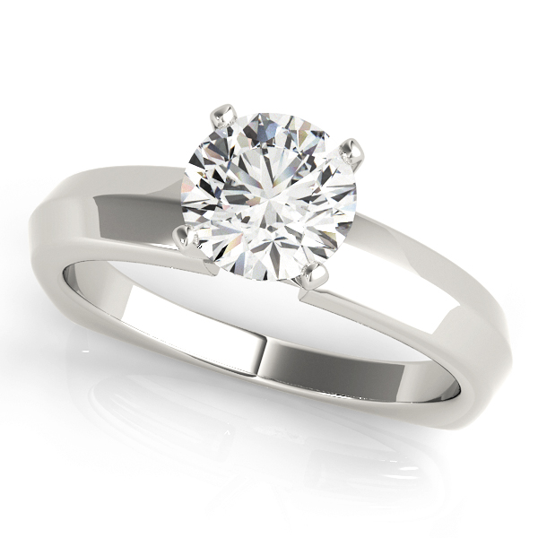 Classic Knife Edge Solitaire Engagement Ring with Square Band