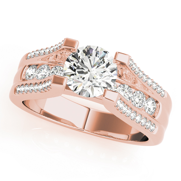 Vintage Diamond Bridge Engagement Ring in Rose Gold