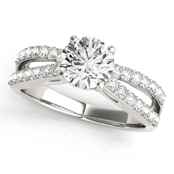 Split Band Diamond Engagement Ring with Floral Prongs