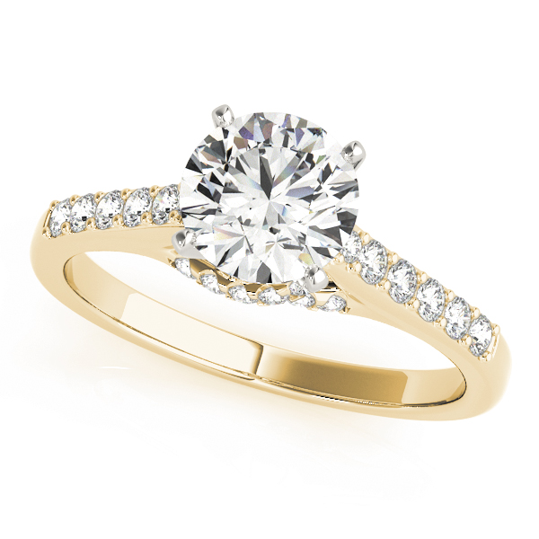 Cathedral Trellis Diamond Engagement Ring in Yellow Gold