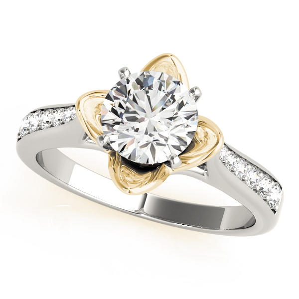 Cathedral Lotus Diamond Engagement Ring with Crown in Yellow Gold