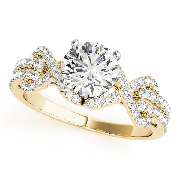 Infinity Love Knot Diamond Engagement Ring in Yellow Gold