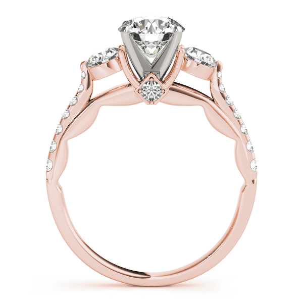 Three Stone Cathedral Engagement Ring with Crescent Side Design in Rose Gold
