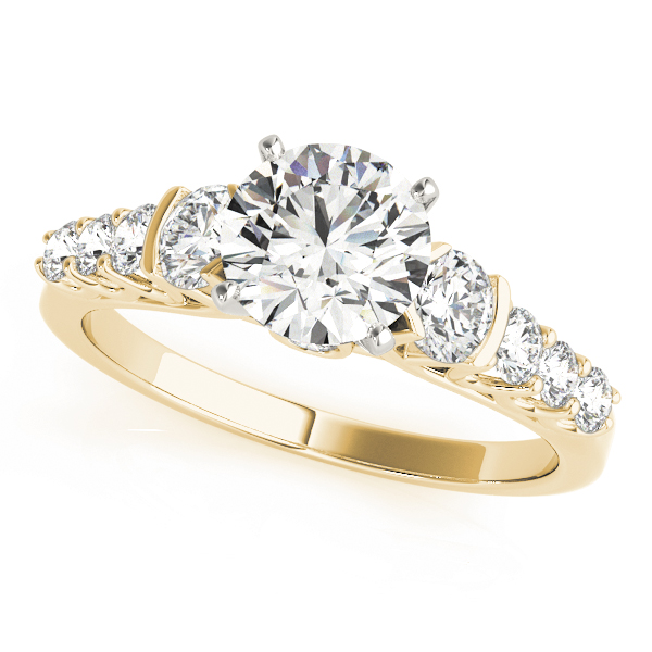 Graduated Journey Trellis Diamond Engagement Ring in Yellow Gold