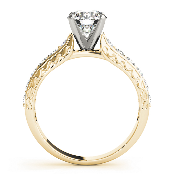 Classic Diamond Engagement Ring with Engraving in Yellow Gold