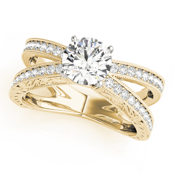 Split Band Butterfly Diamond Engagement Ring, Engraved Band in Yellow Gold