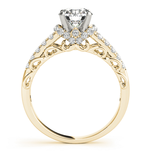 Filigree Double Row Diamond Engagement Ring in Yellow Gold