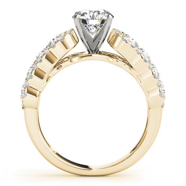 Wave Halo Diamond Engagement Ring in Yellow Gold