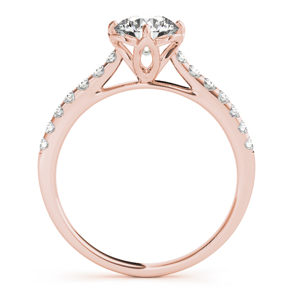 Floral Cathedral Petite Engagement Ring in Rose Gold