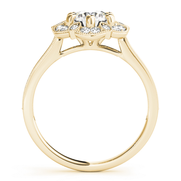 Floral Halo Cathedral Engagement Ring in Yellow Gold