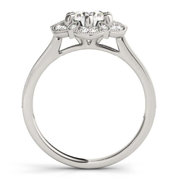 Floral Halo Cathedral Engagement Ring